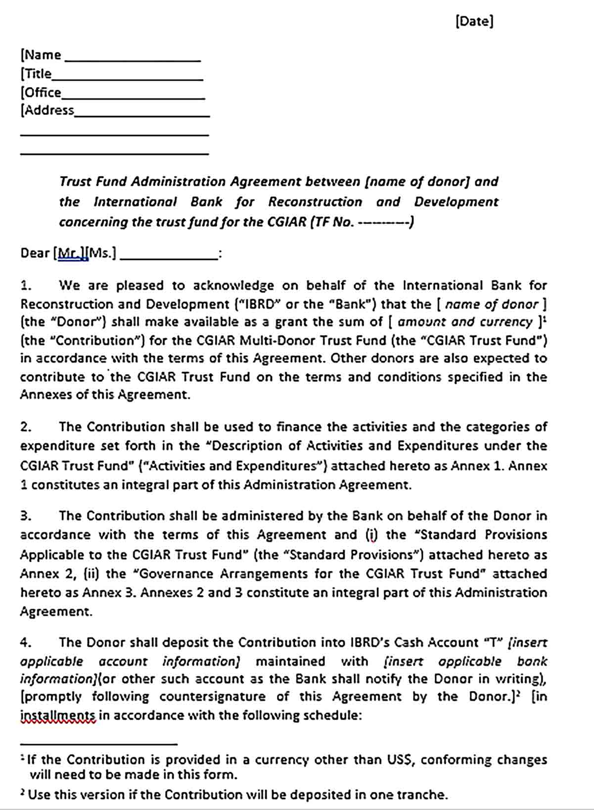 Sample Fund Administration Agreement