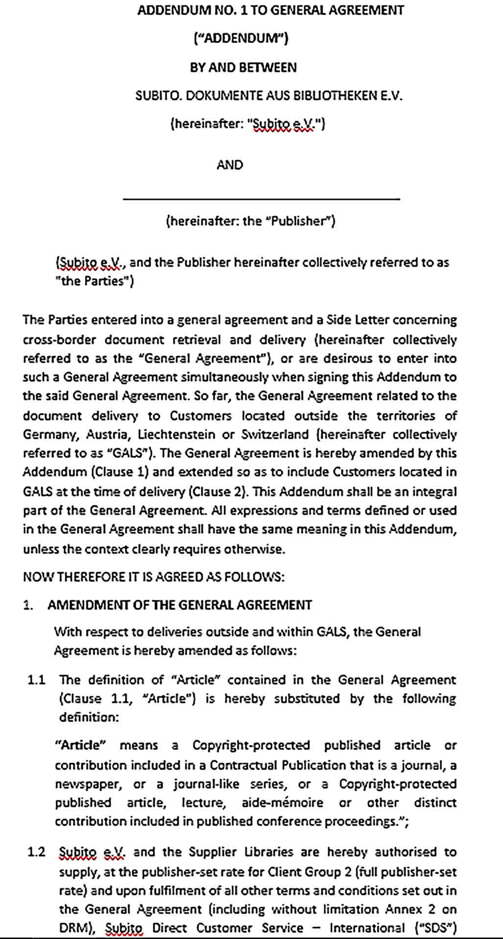 Sample General Addendum Agreement