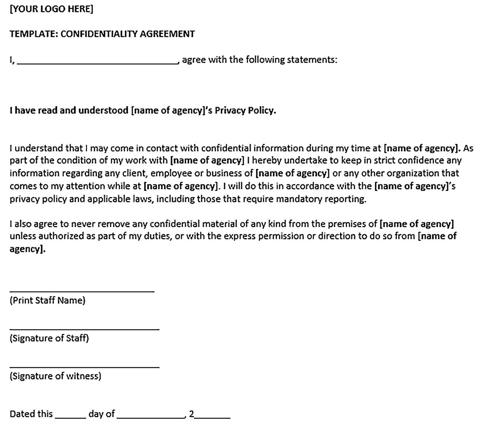 Sample General Confidentiality Agreement Form