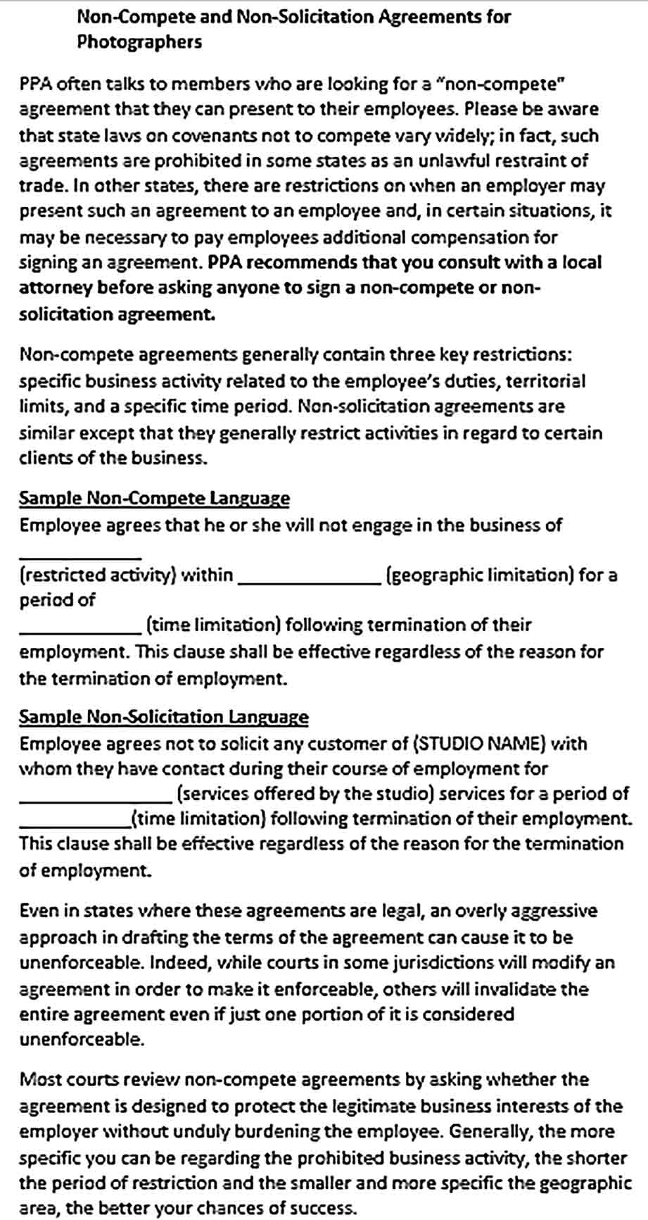 Sample General Non Compete Agreement