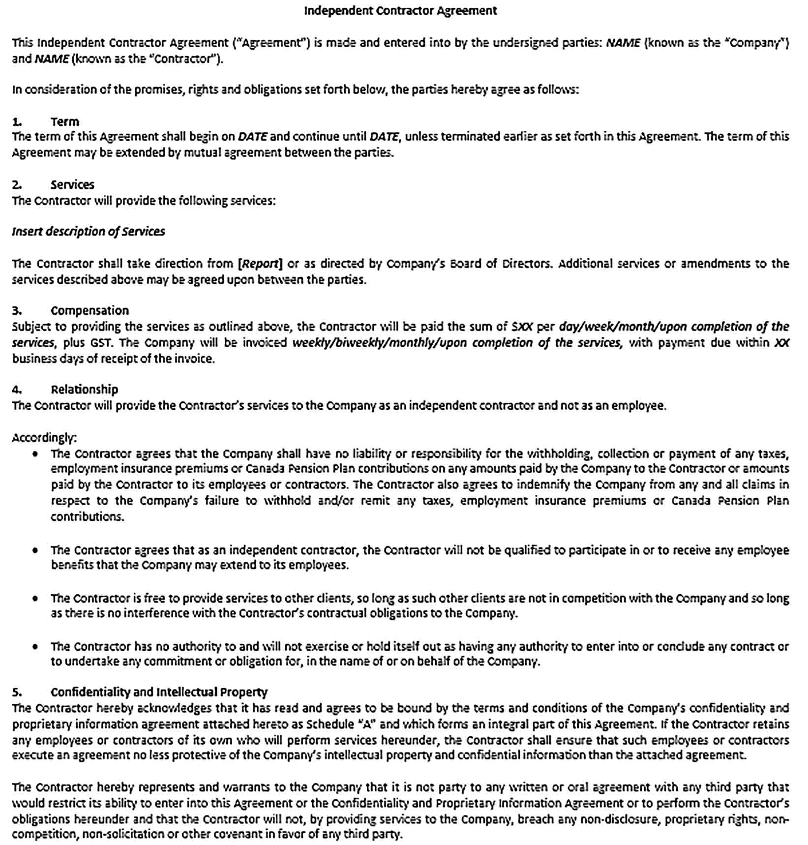 Sample Independent Contractor Agreement 002