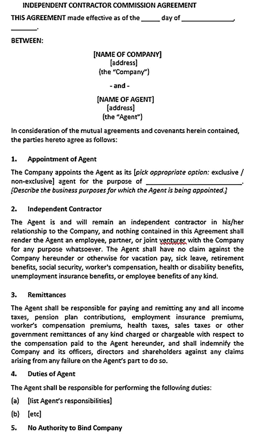 Sample Independent Contractor Commission Agreement