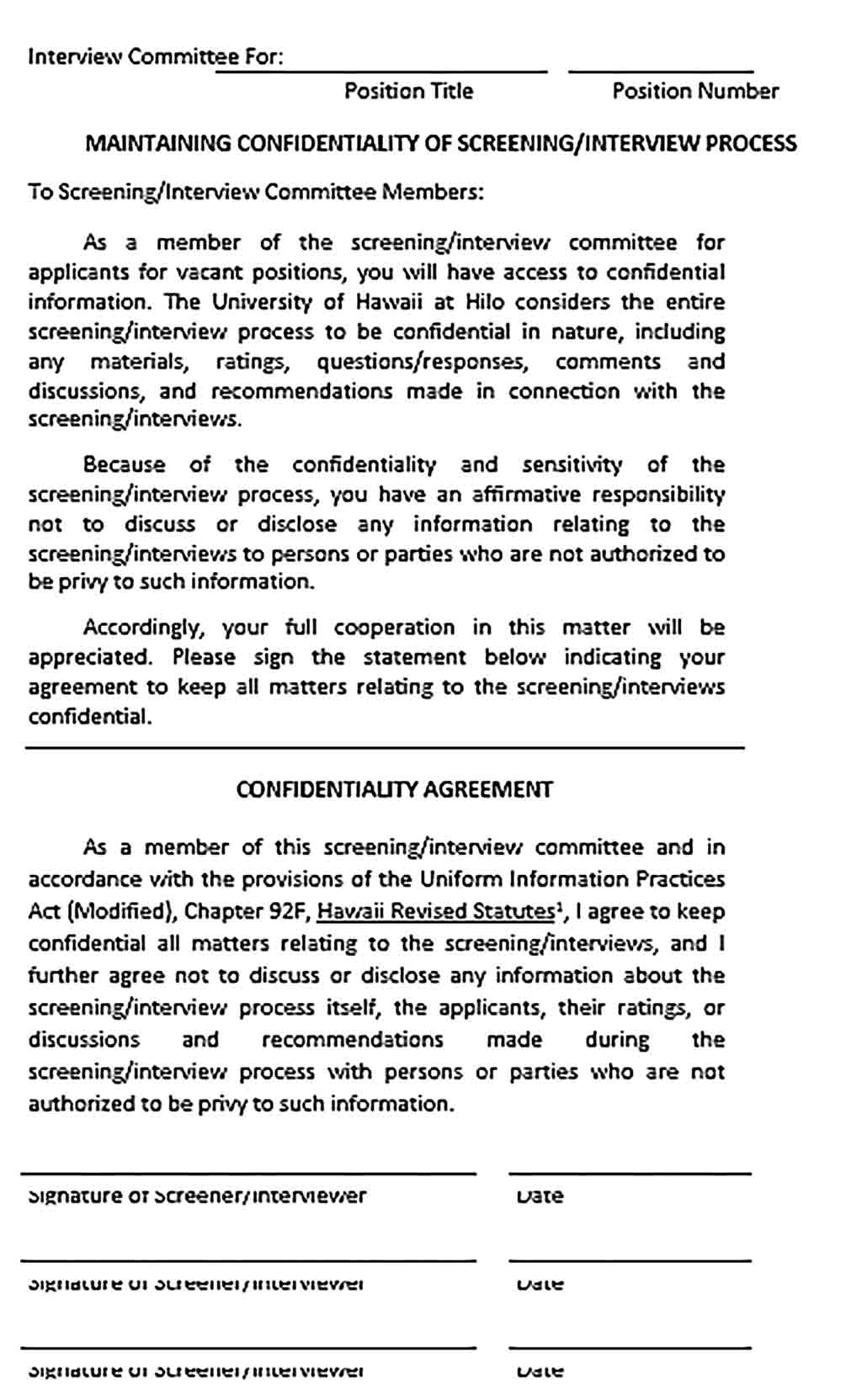 Sample Interview Confidentiality Agreement