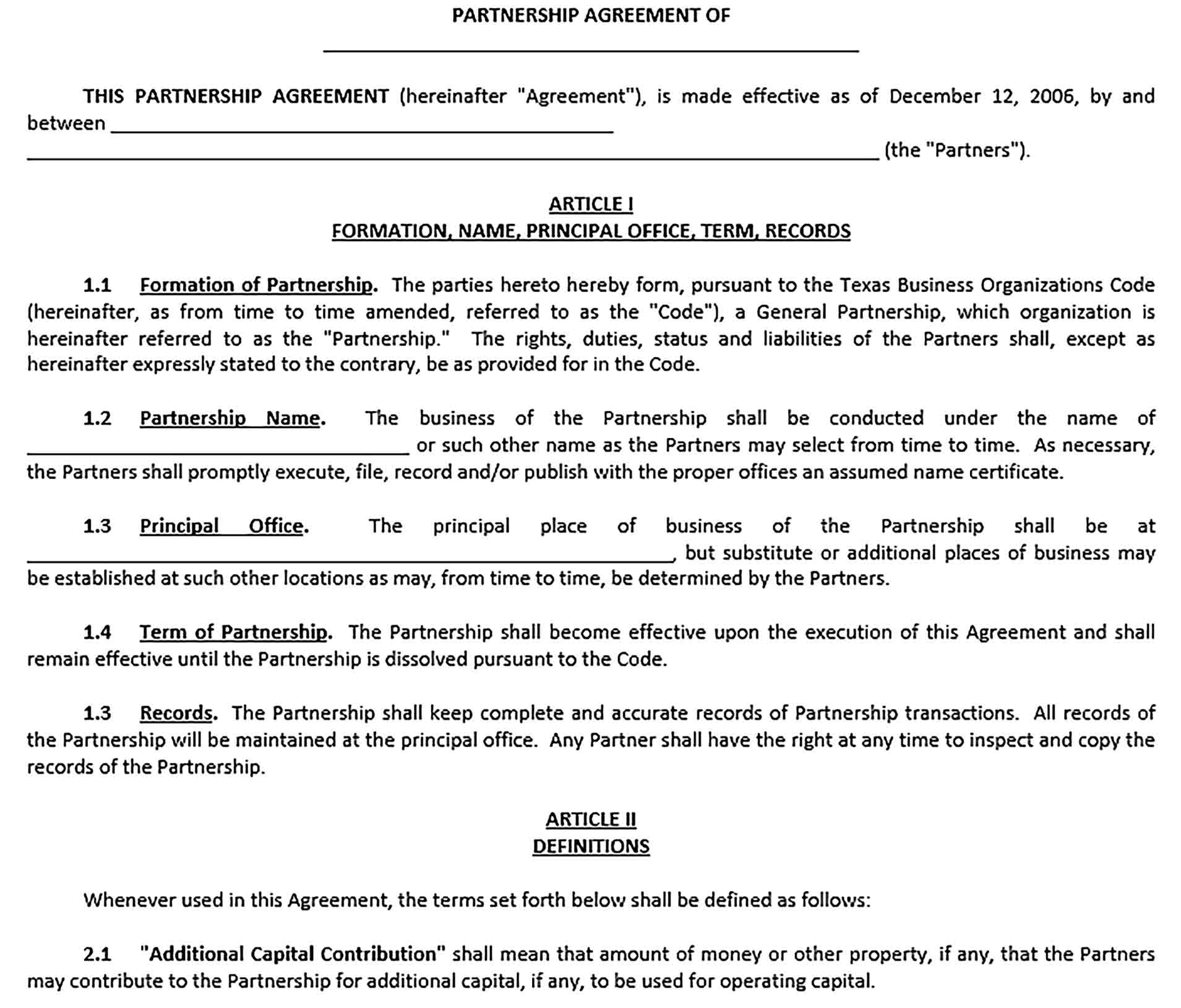 Sample Legal Business Partnership Agreement