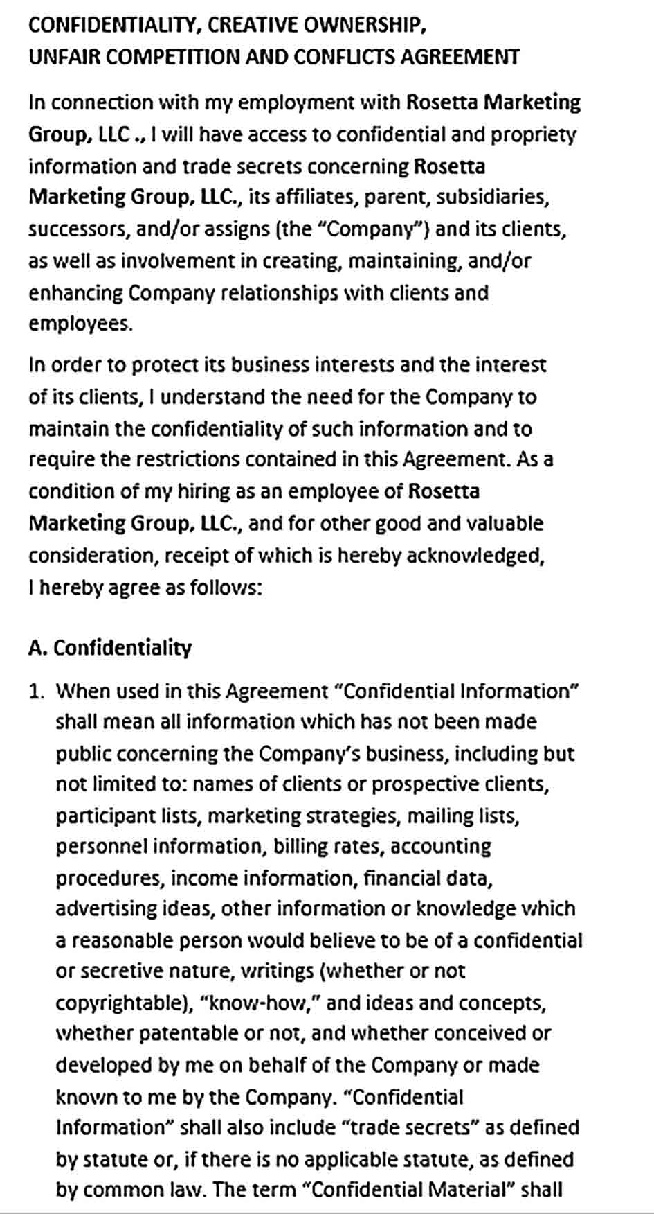 Sample Legal Confidentiality Agreement