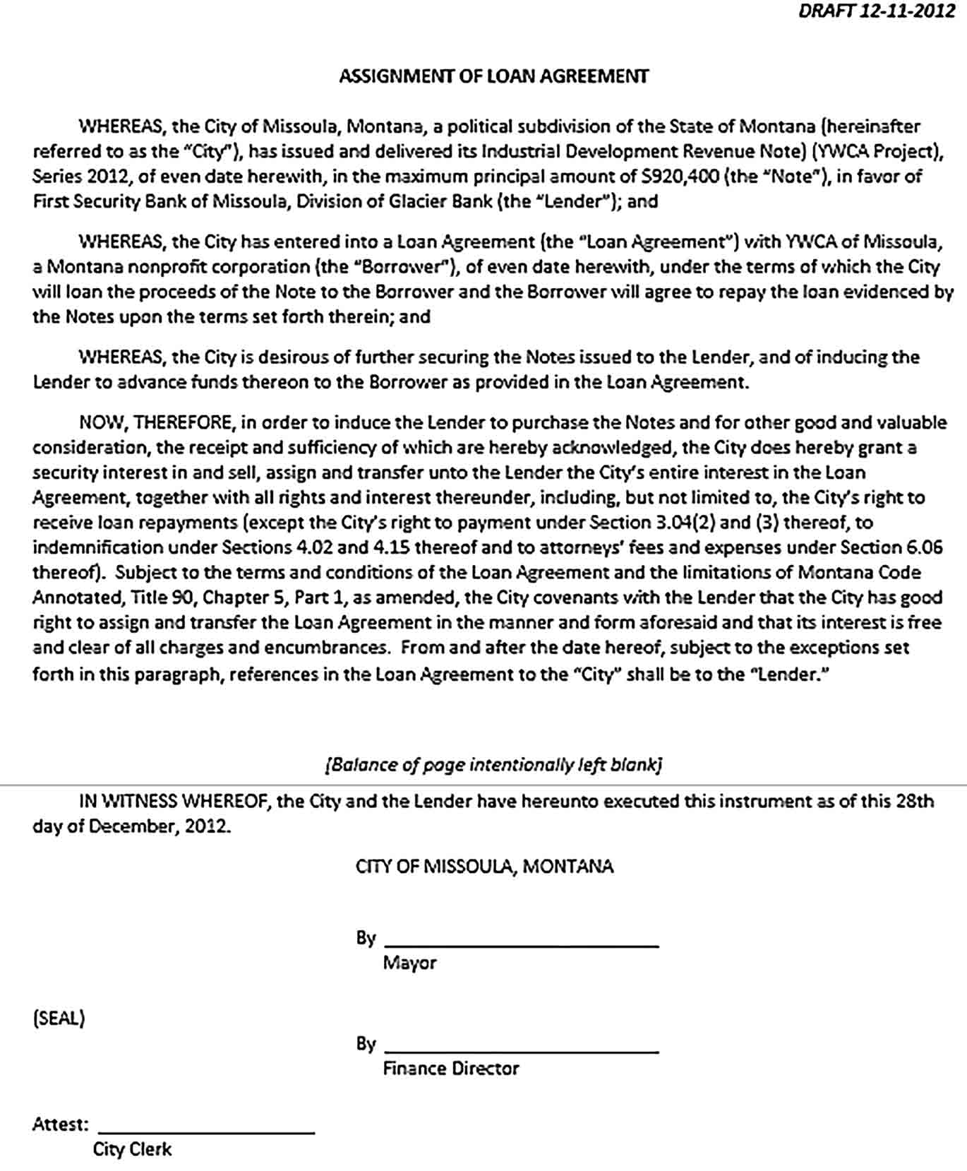Sample Loan Assignment Agreement