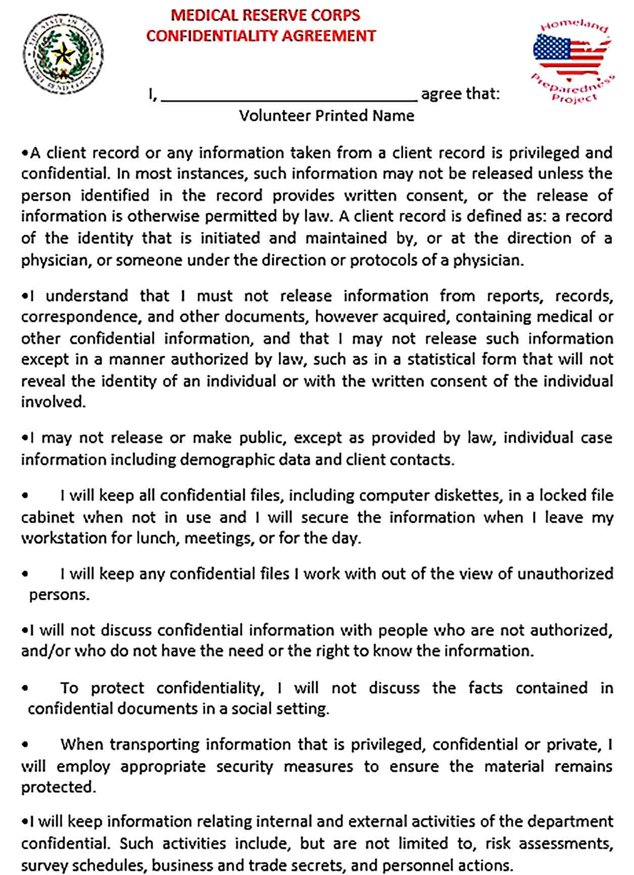 Sample Medical Confidentiality Agreement Form