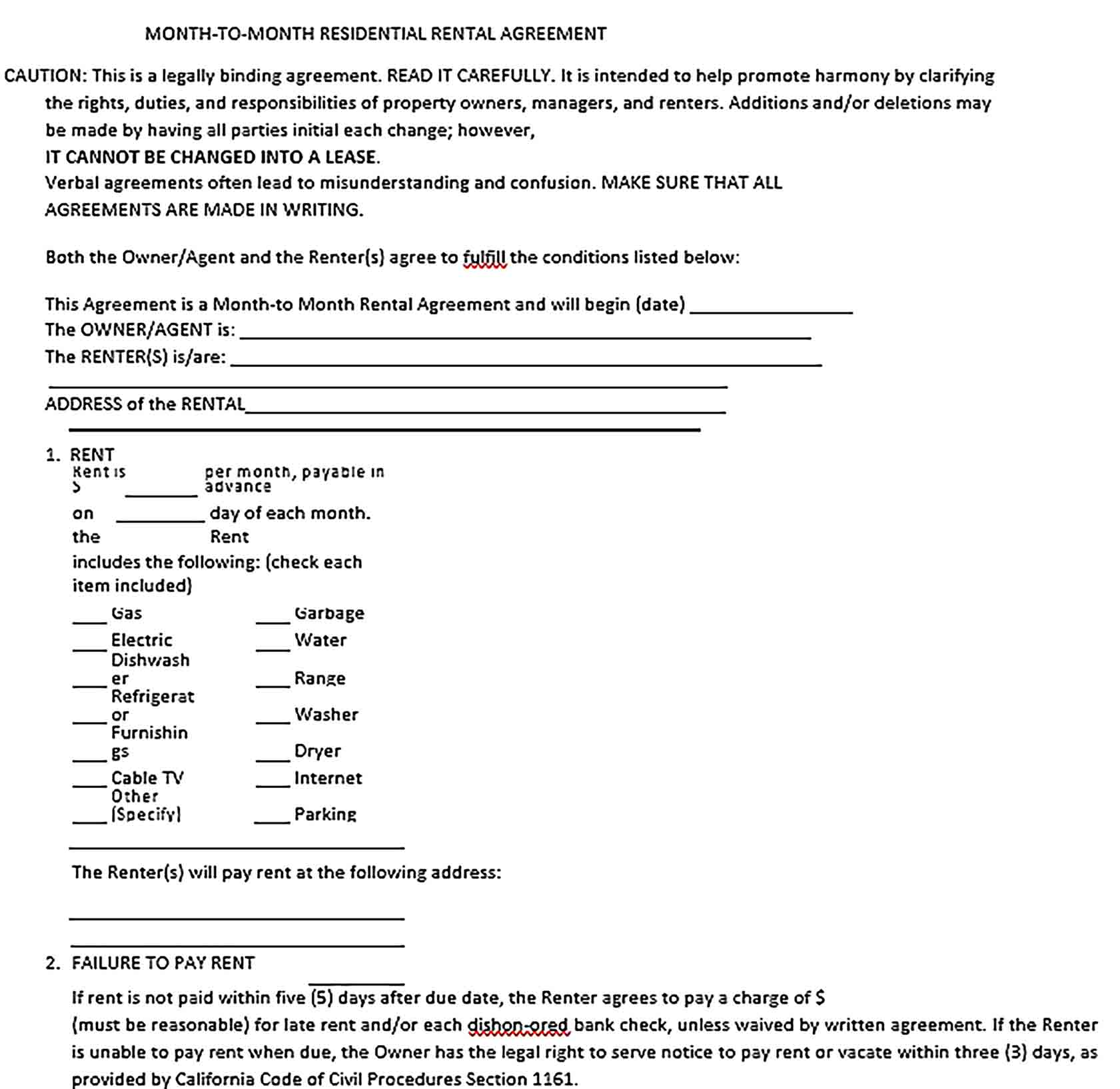 Sample Month to Month Rental Agreement