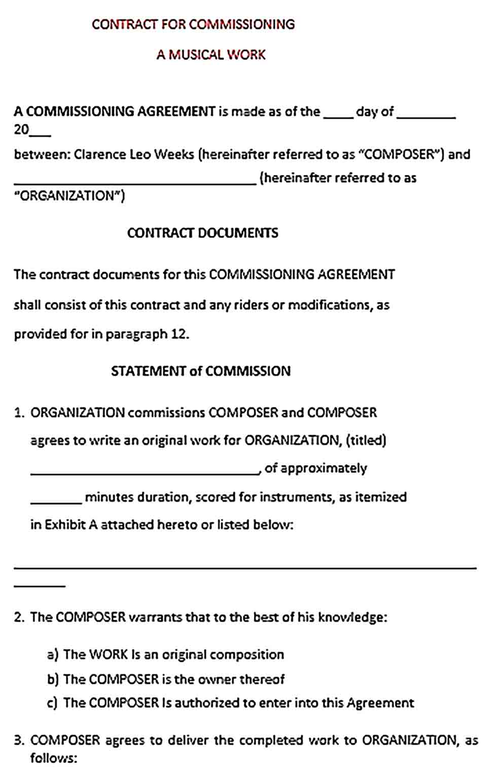 Sample Musical Work Contract Commission Agreement