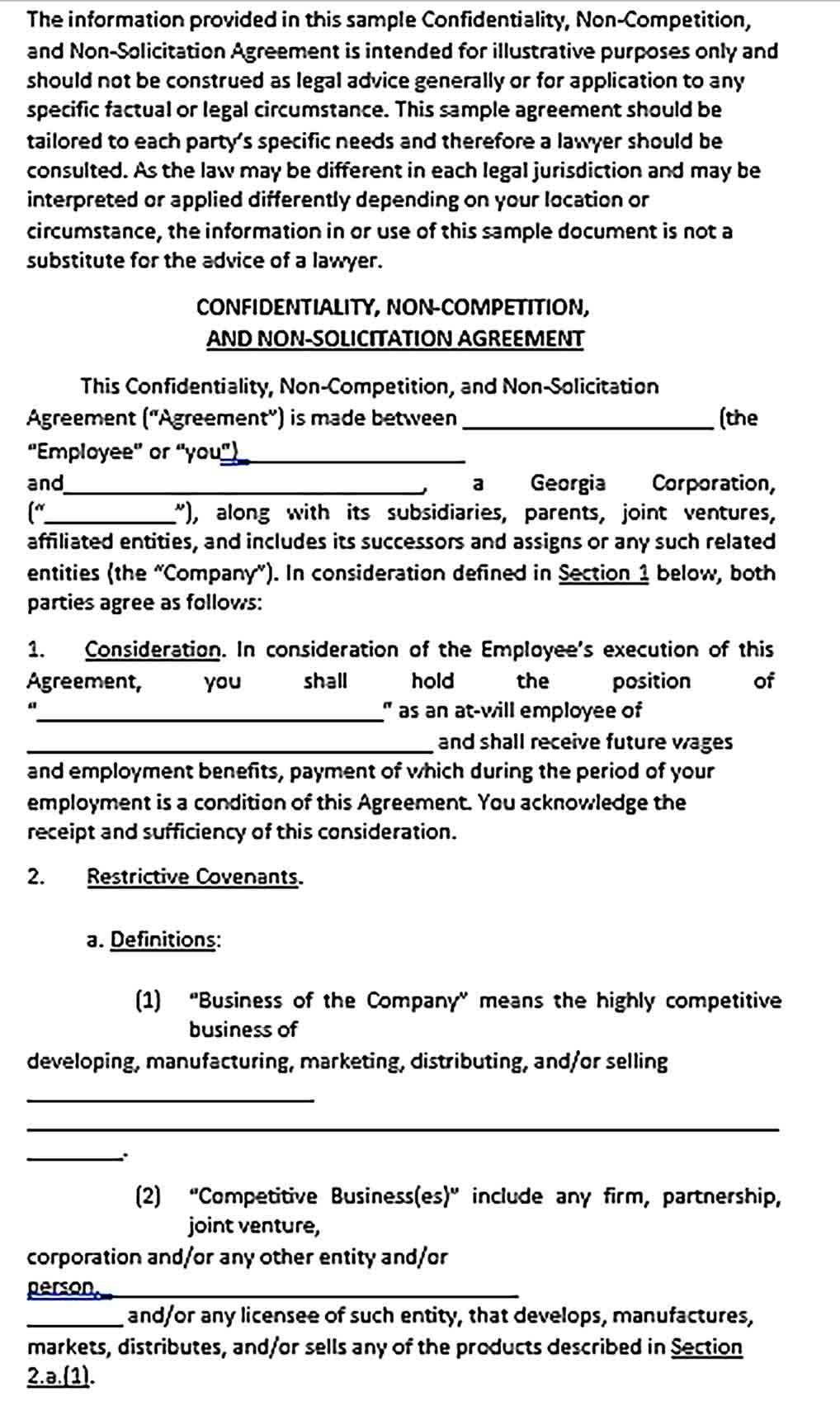 Sample Non Compete Agreement Letter of Business