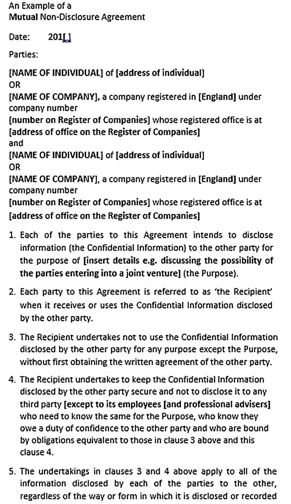 Sample Non Disclosure Confidentiality Agreement
