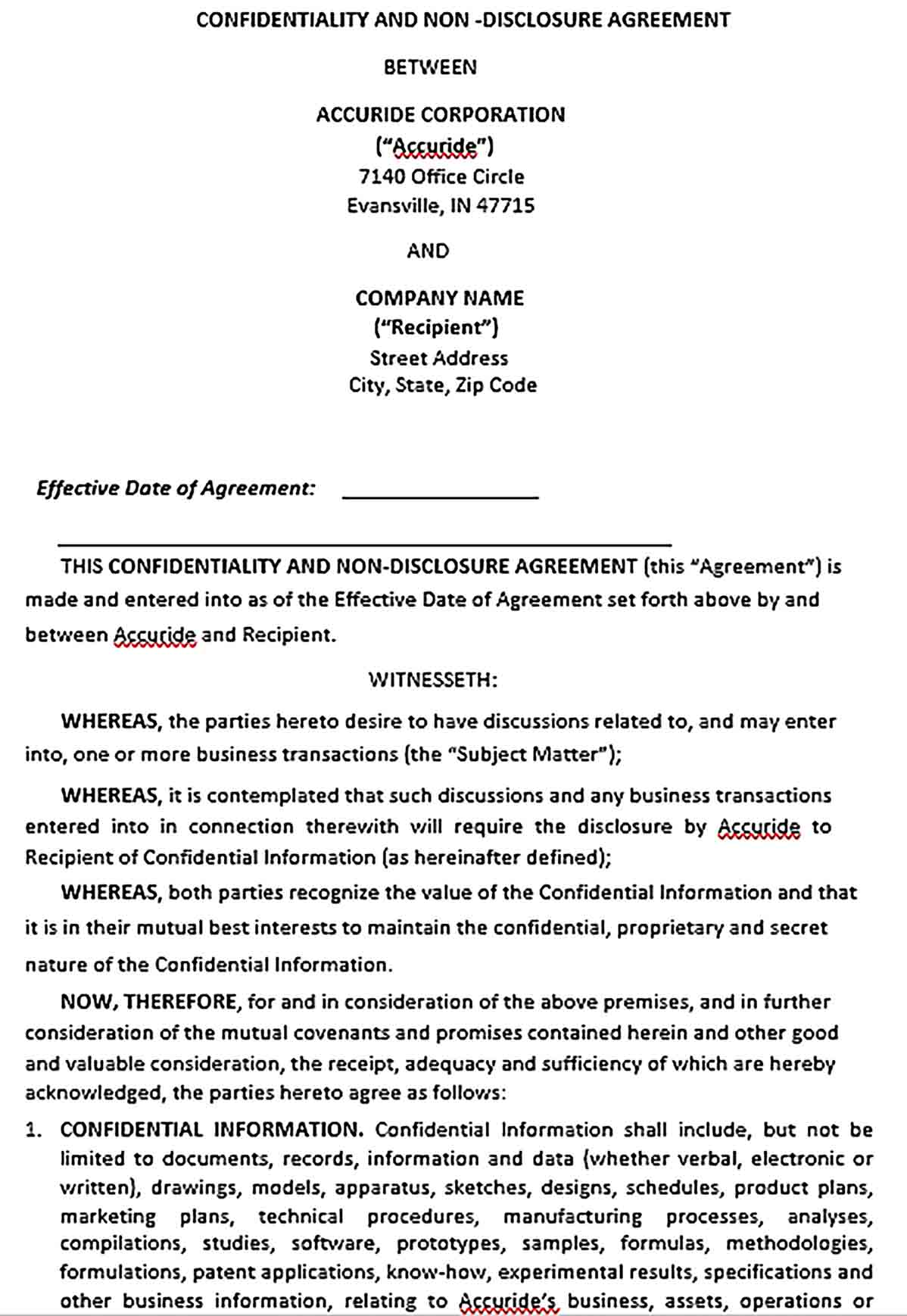 Sample Non Disclosure Confidentiality Agreement Form