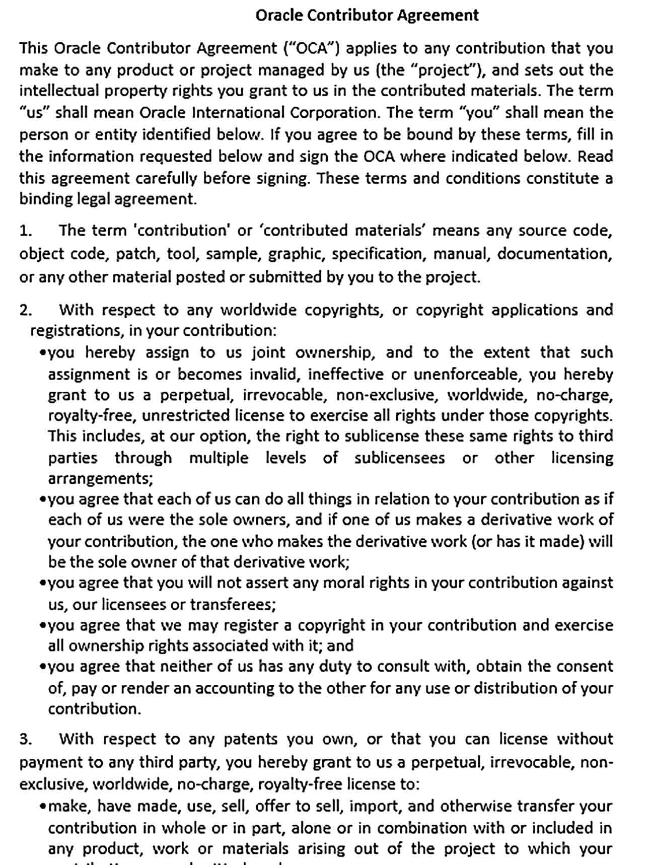 Sample Oracle Contributor Agreement