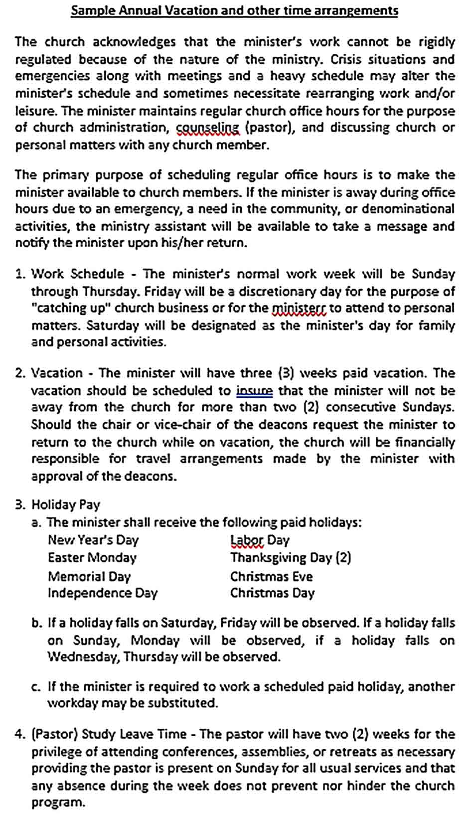 Sample Pastor Compensation and Vacation Guidelines