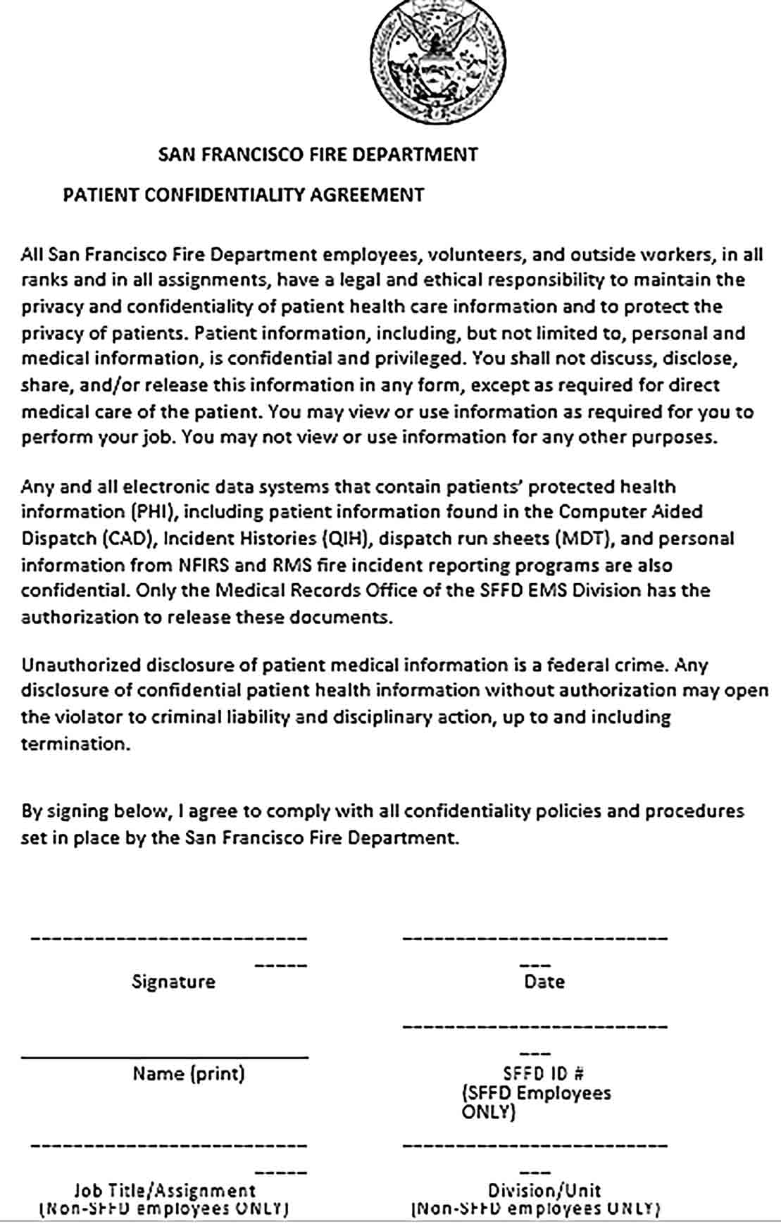 Sample Patient Confidentiality Agreement Form