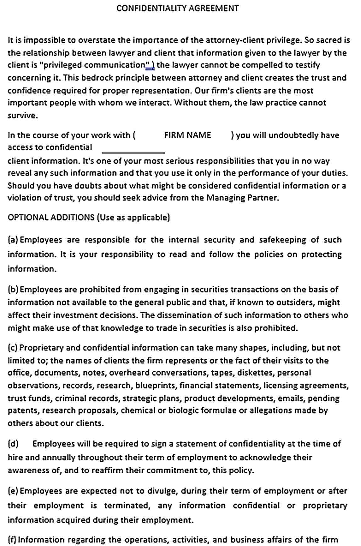 Sample Personal Assistant Confidentiality Agreement Form