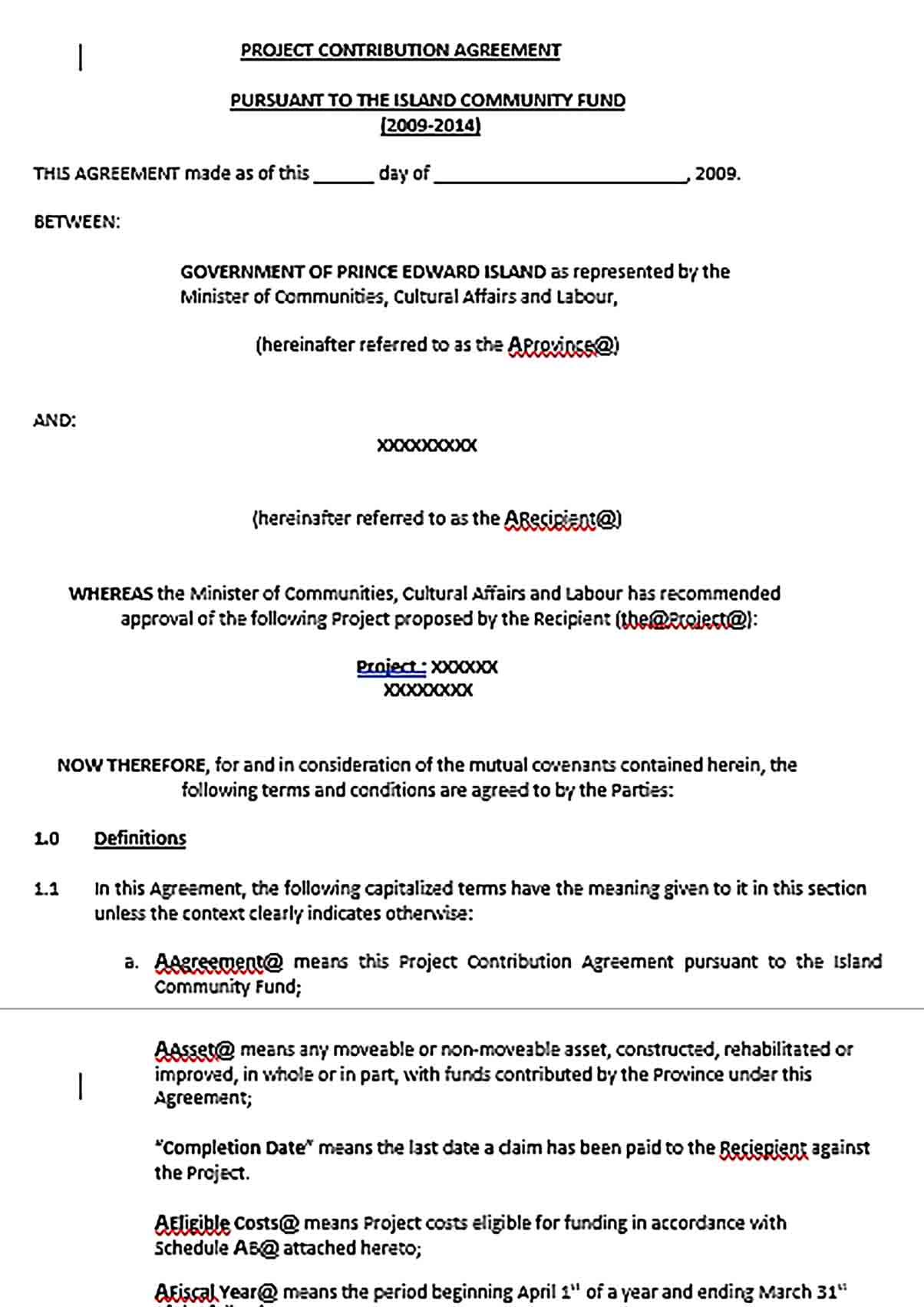 Sample Project Contribution Agreement