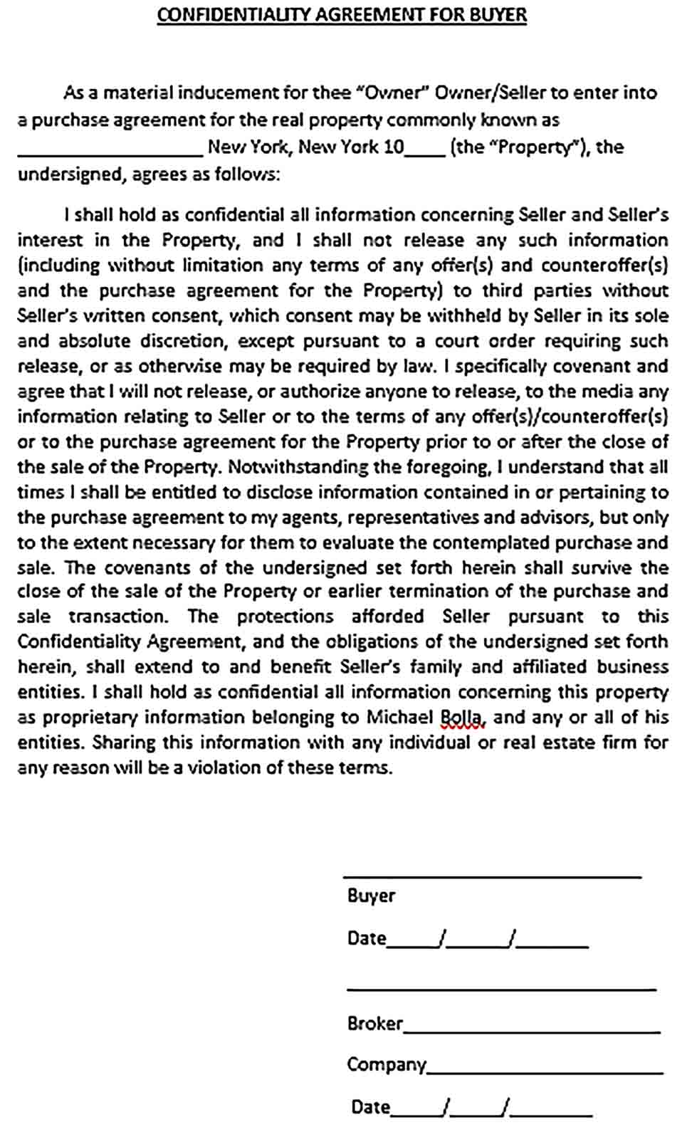 Sample Real Estate Confidentiality Agreement Form