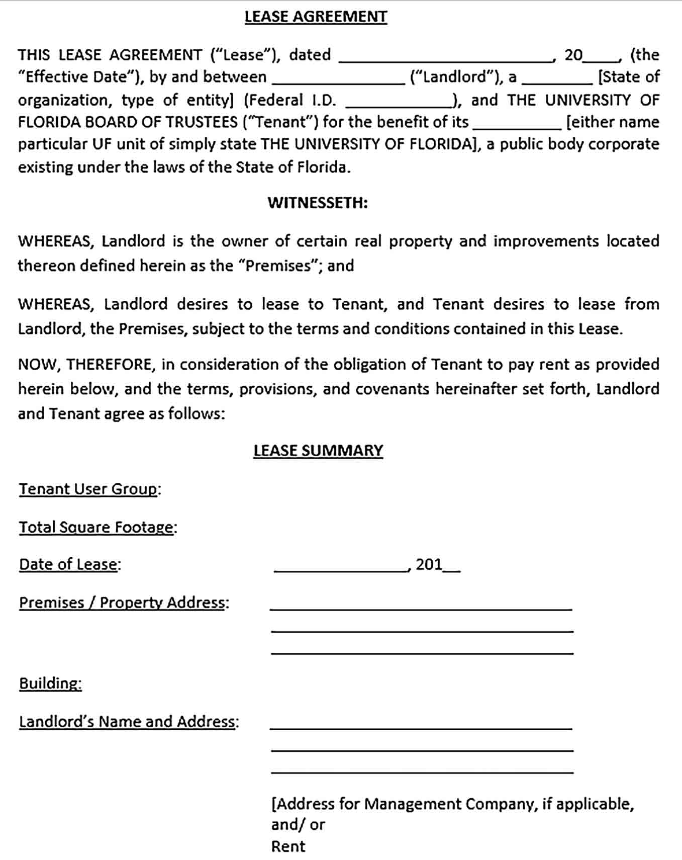 Sample Real Estate Lease Agreement