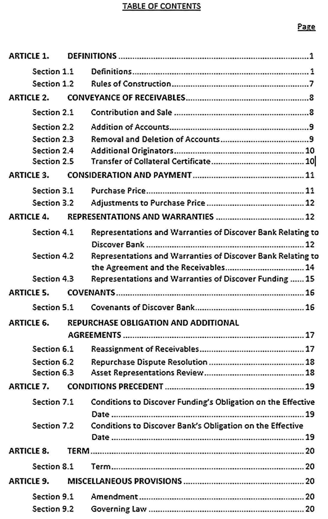Sample Receivable Sales and Contribution Agreement