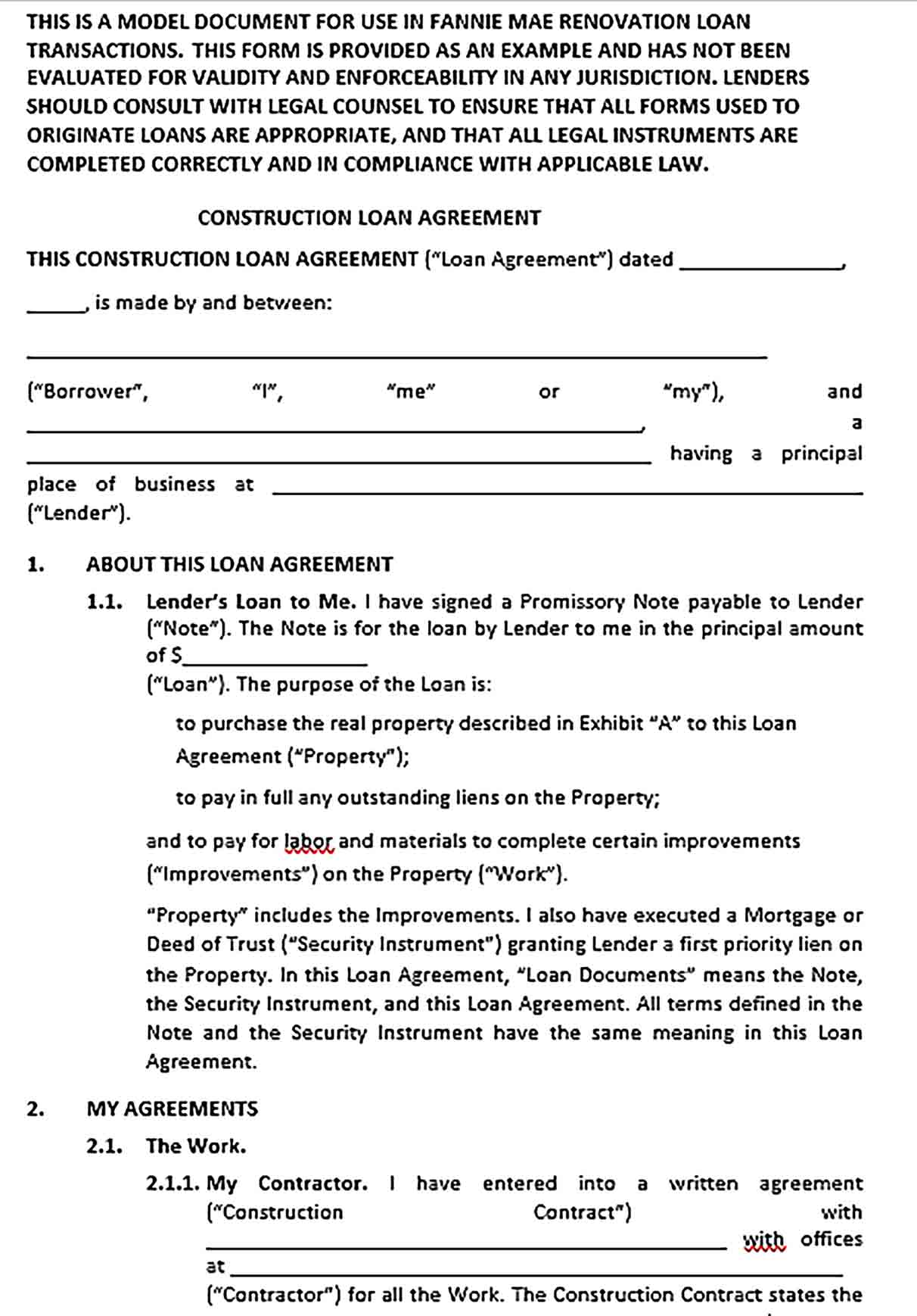 Sample Renovation And Construction Loan Agreement