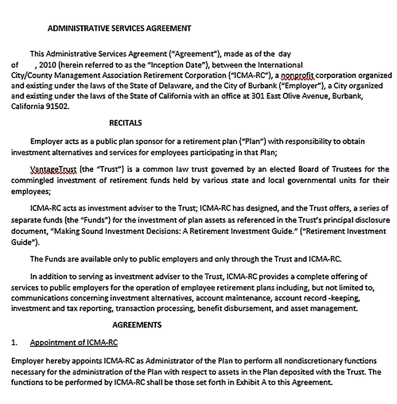 Sample Retirement Plan Administrative Services Agreement