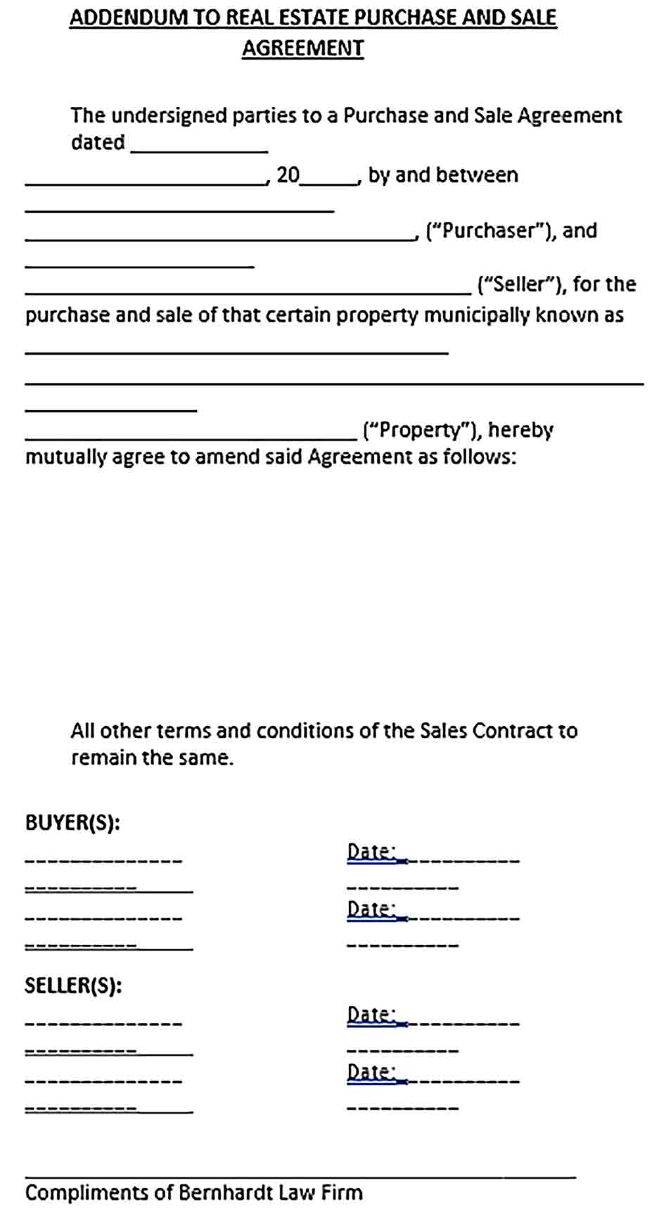 Sample Sales Addendum Agreement