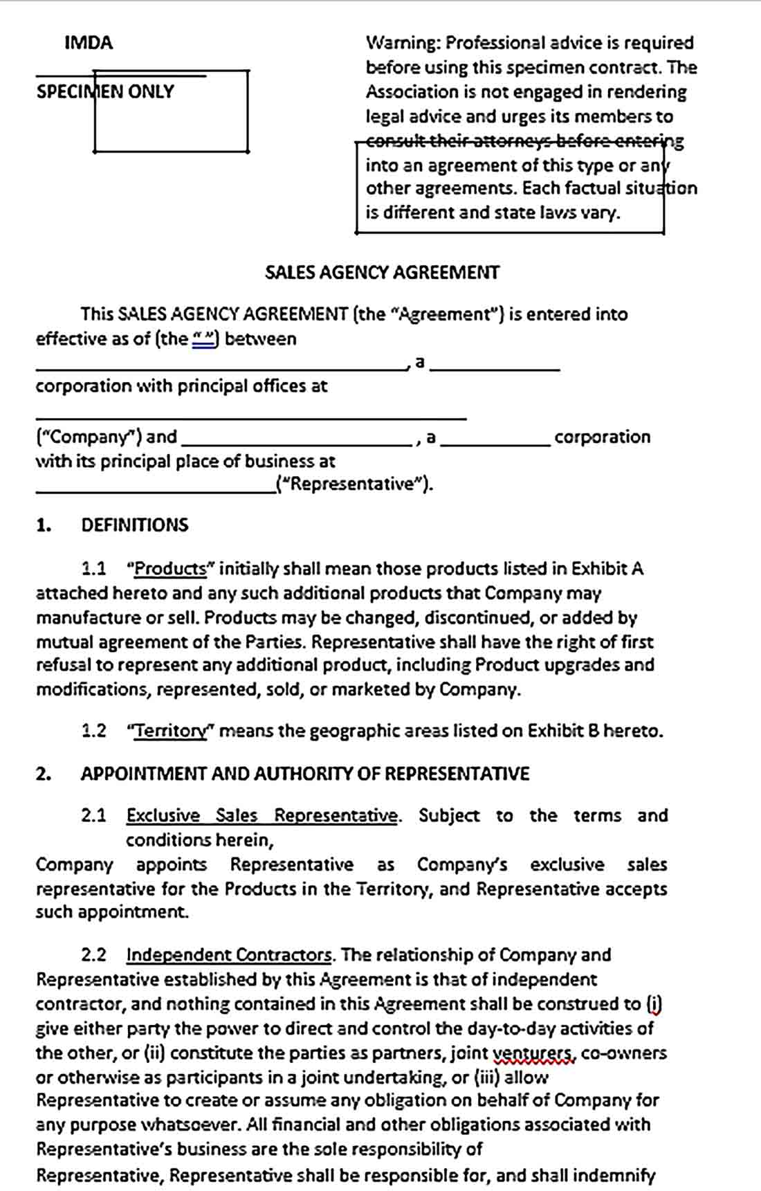 Sample Sales Agency Commission Agreement