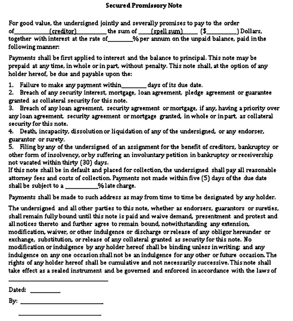 Sample Secured Promissory Note