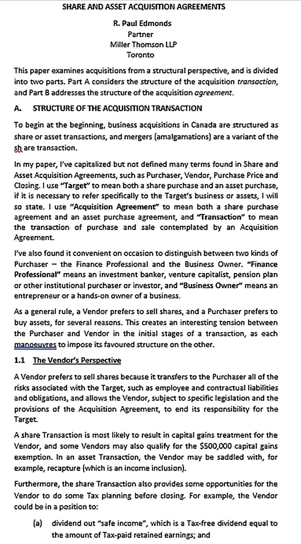 Sample Share Asset Acquisition Agreement