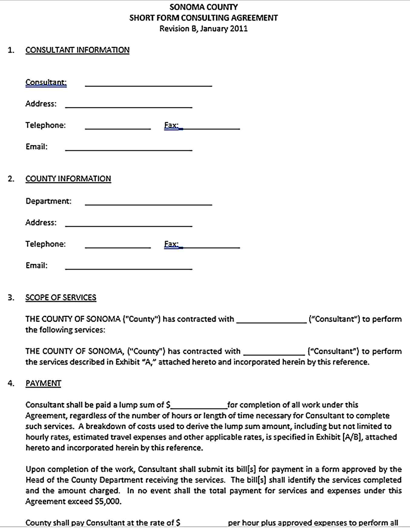 Sample Short Form Consulting Agreement