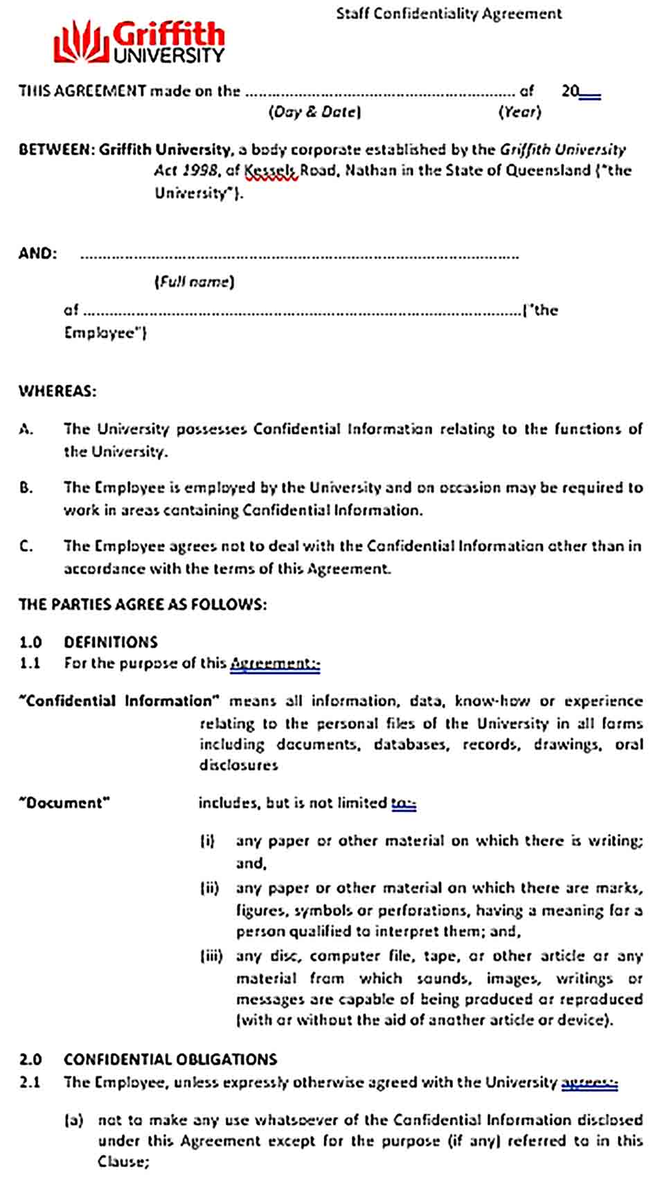 Sample Staff Confidentiality Agreement