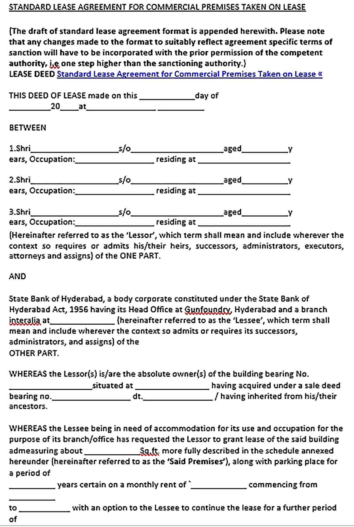 Sample Standard Commercial Lease Agreement