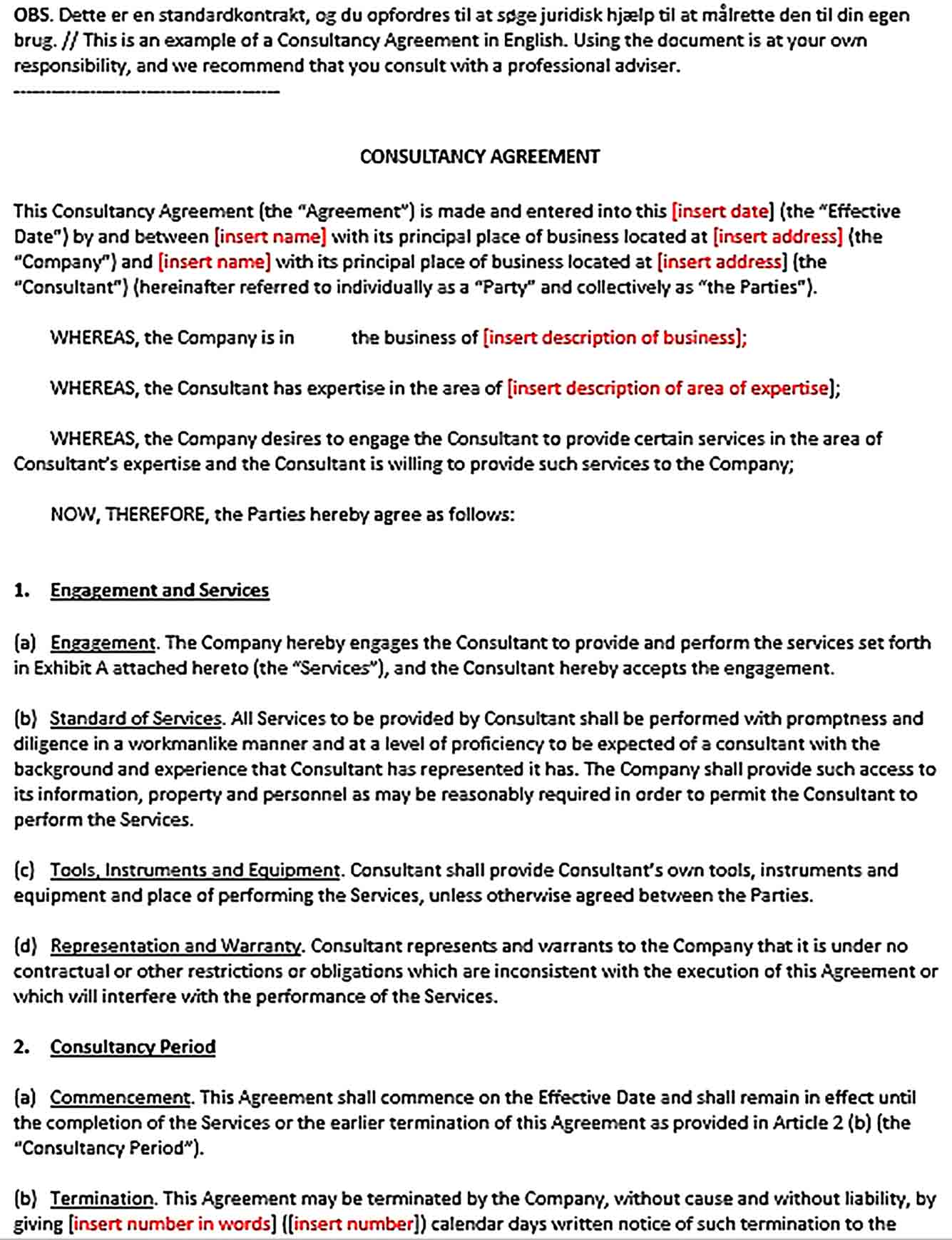 Sample Standard Consulting Agreement