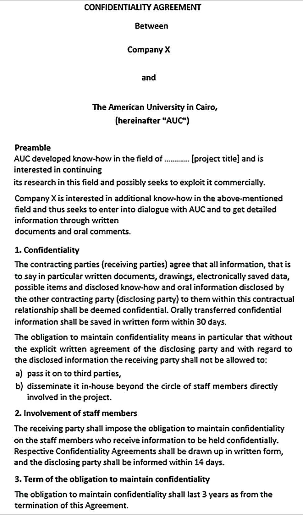 Sample Standard Form Confidentiality Agreement