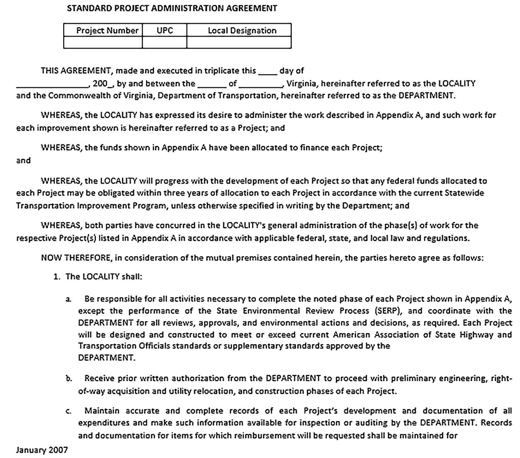 Sample Standard Project Administration Agreement
