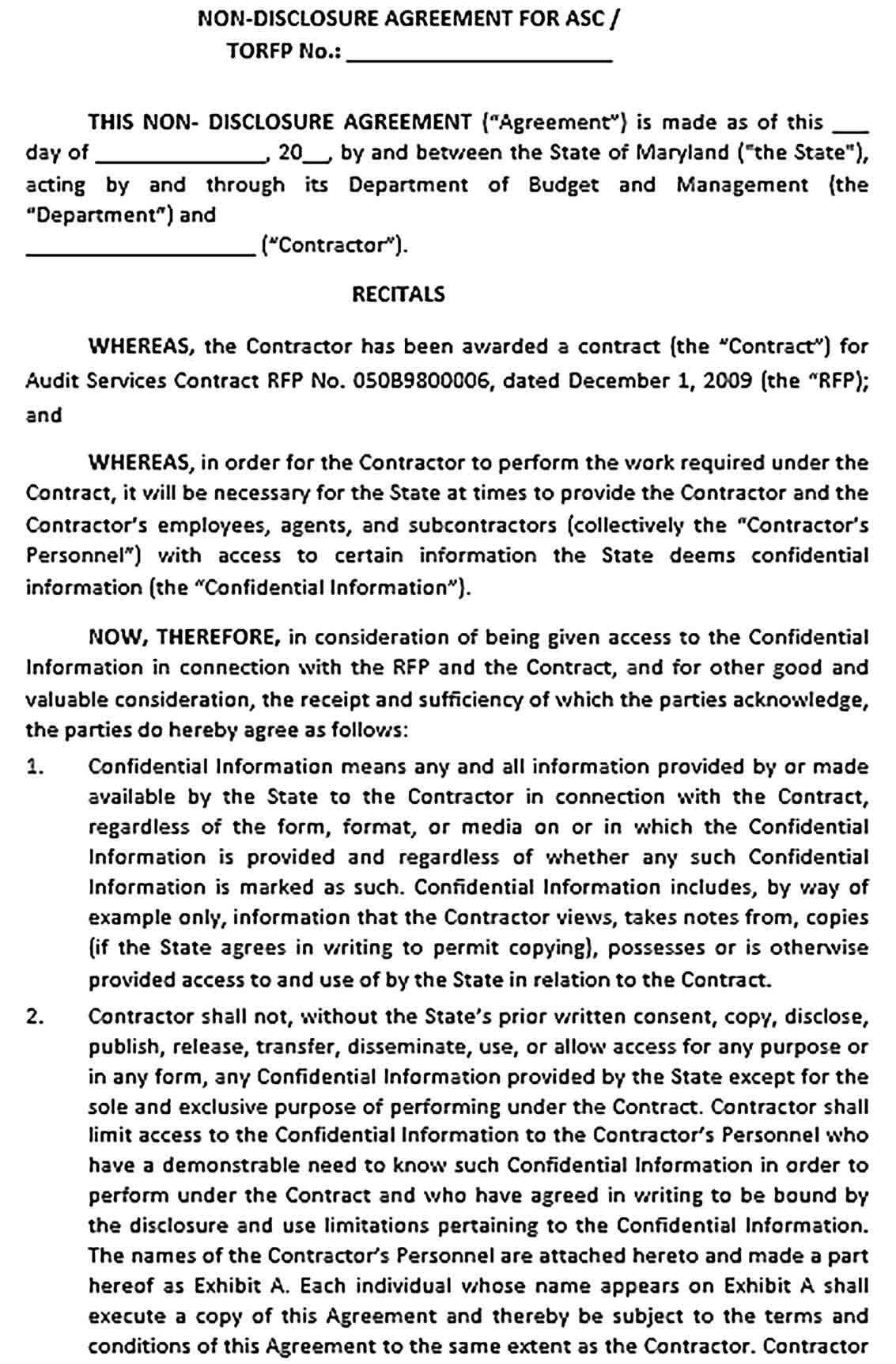 Sample State Audit Non Disclosure and Confidentiality Agreement