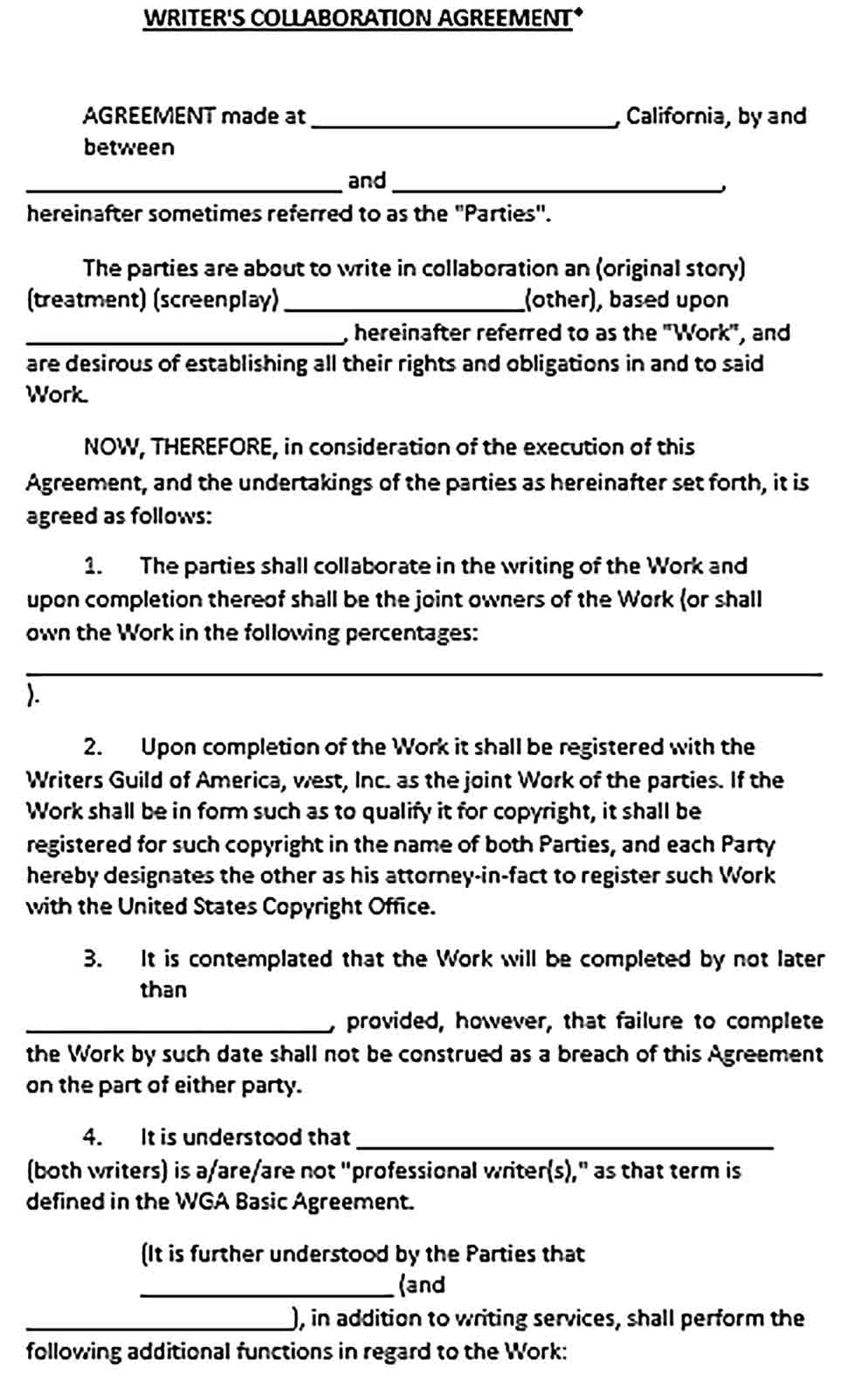 Sample Writers Collaboration Agreement