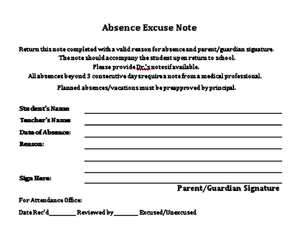 School Absence Excuse Form