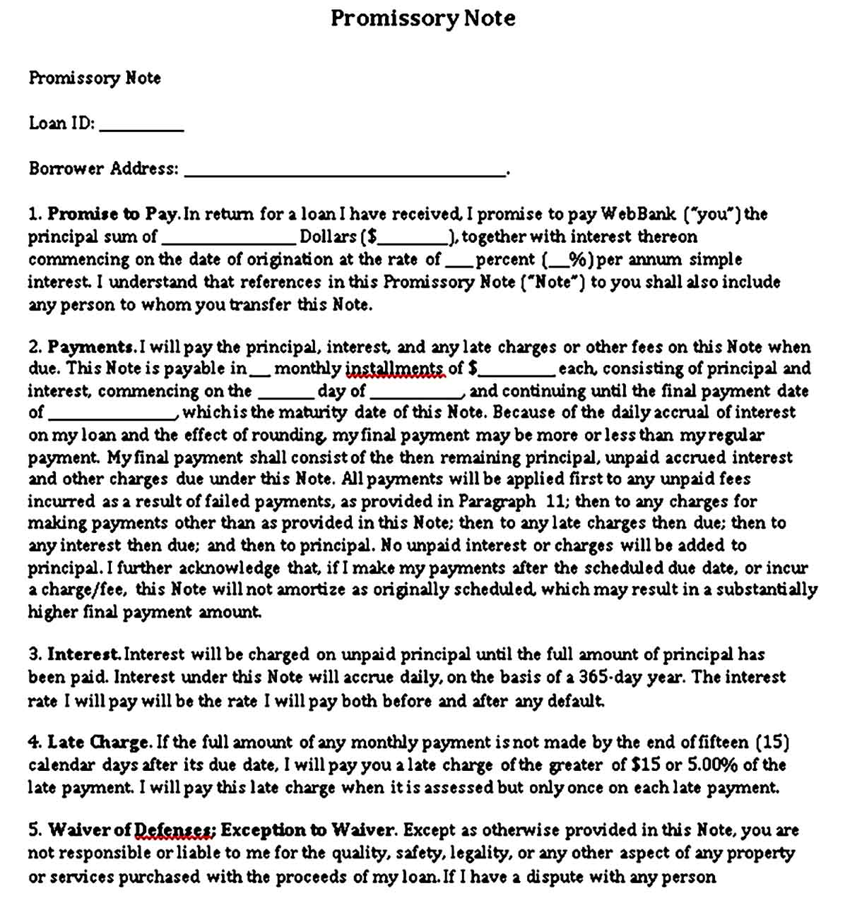 Small Business Promissory Note Format