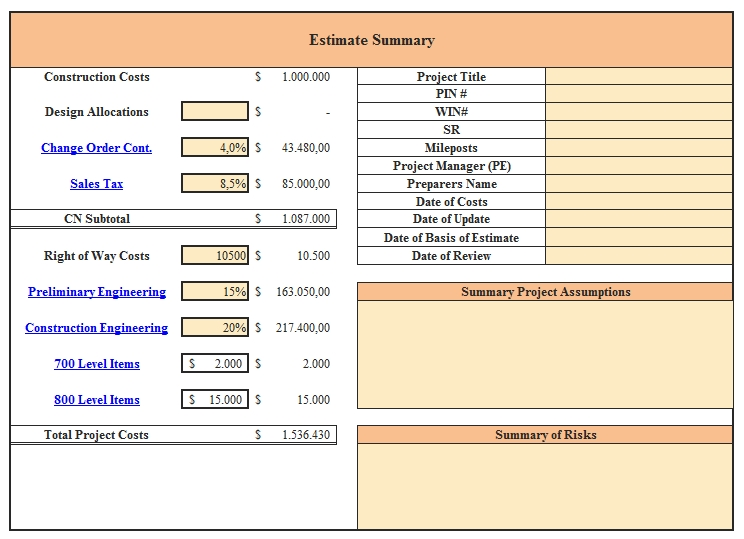 Templates An Excel for Change Order Summery Sheet 1 Example