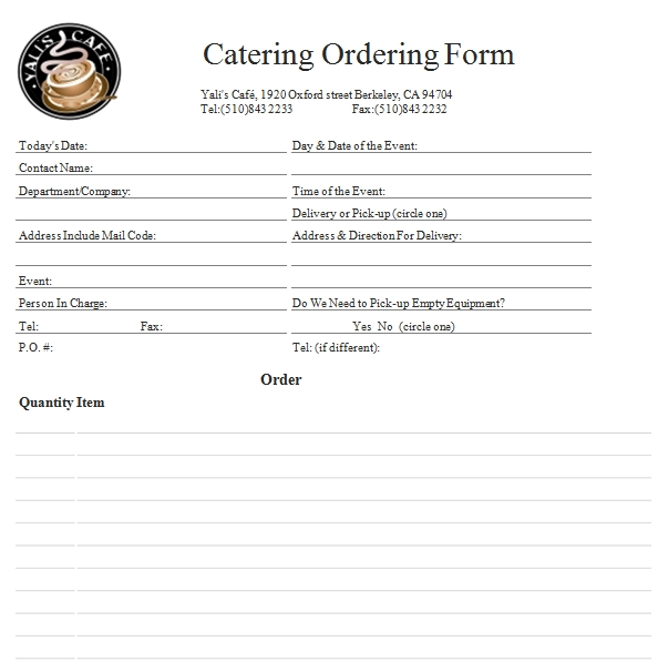 Templates Blank Catering Order Example