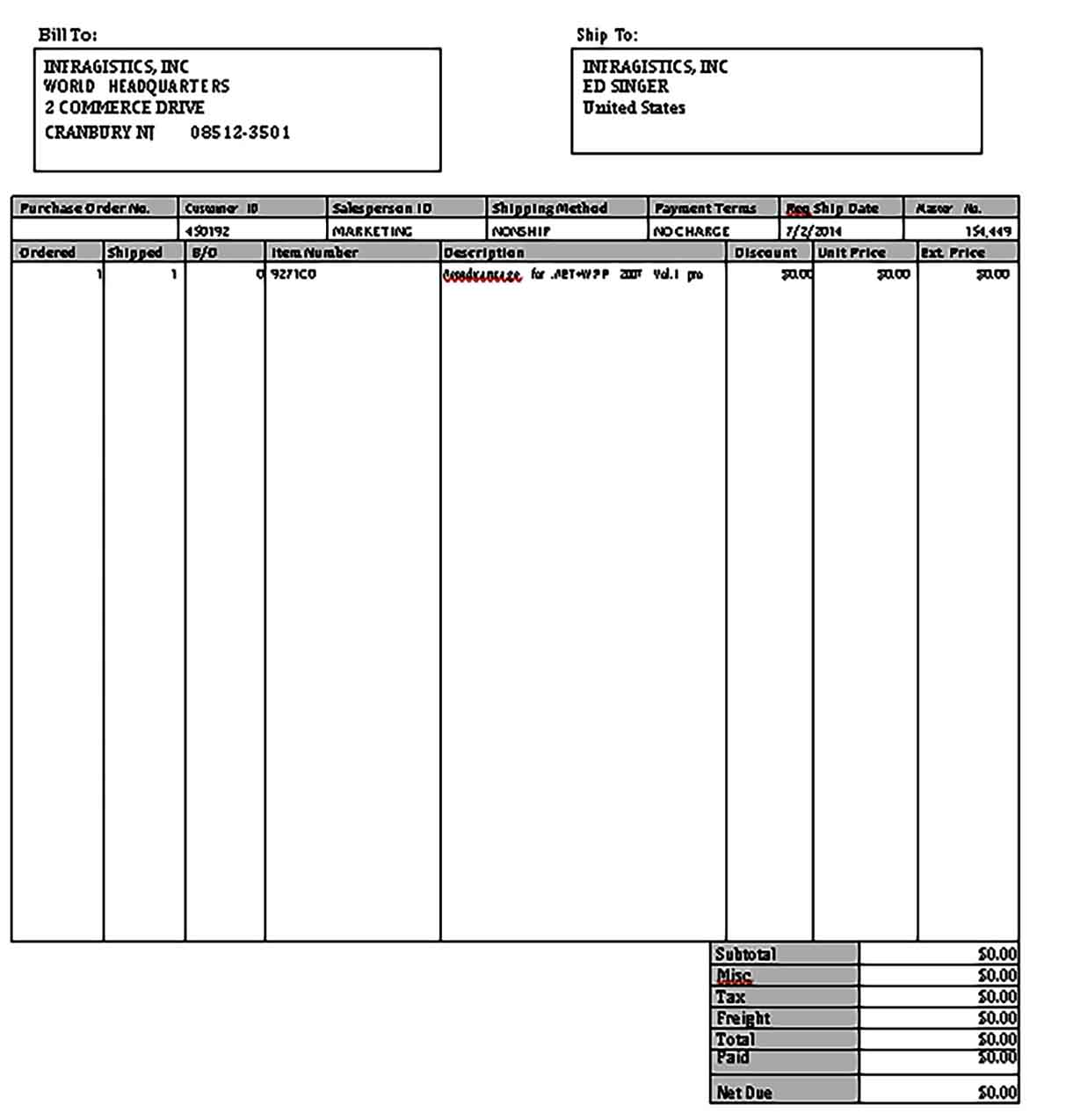 Templates Blank Invoice Form Example