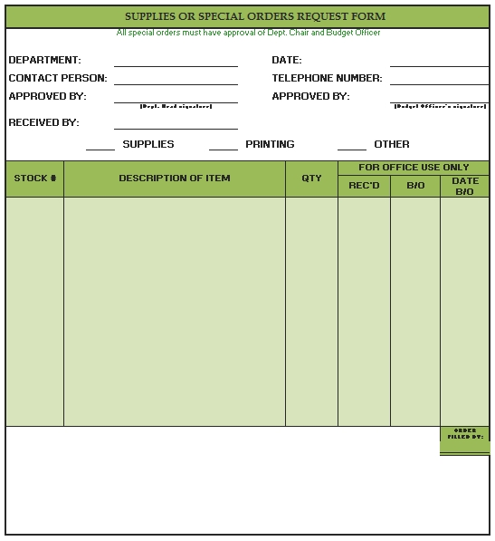 Templates Blank Supply Order Request Form Example 1