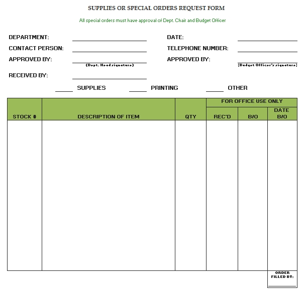 Templates Blank Supply Order Request Form Example