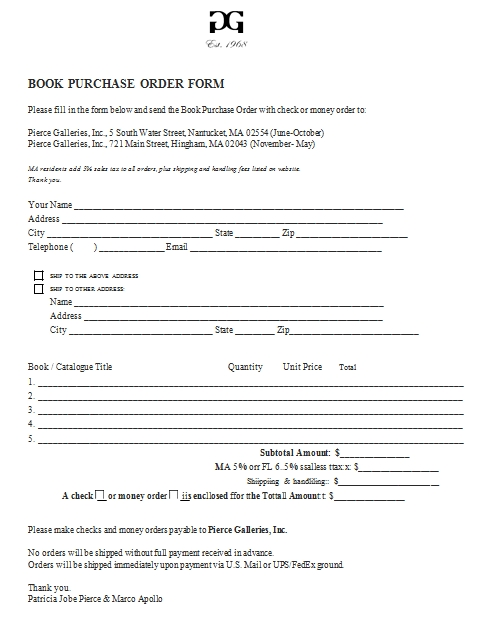 Templates Book Purchase Order Form Format Example