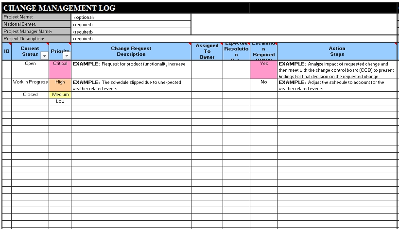 Templates Change Log Order Excel Example