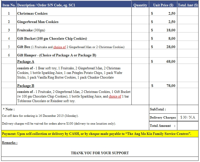Templates Christmas Bakery Order Forms Excel 2 Example