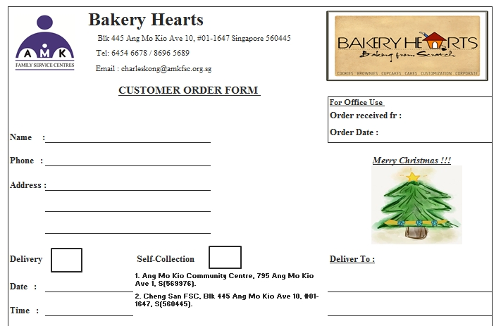 Templates Christmas Bakery Order Forms Excel Example