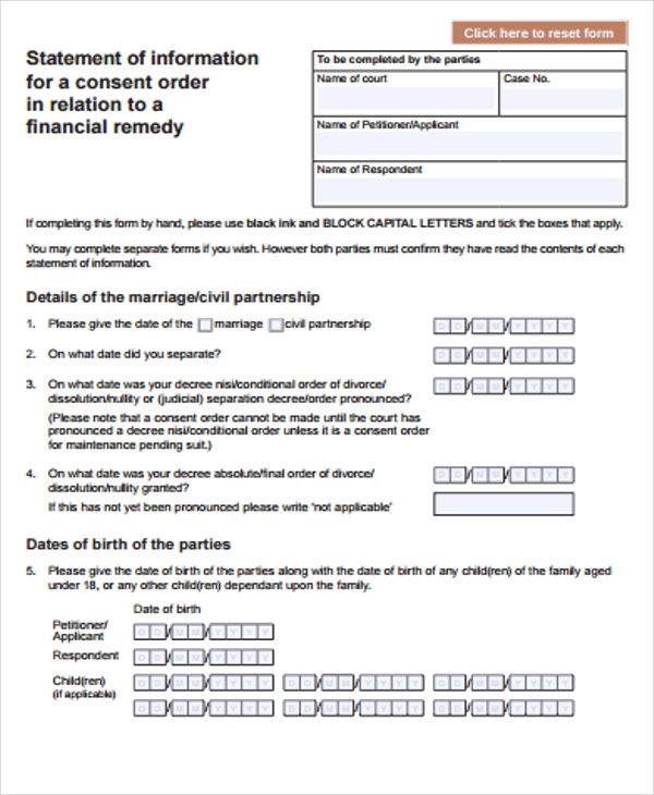 Templates Consent Order for Divorce Example